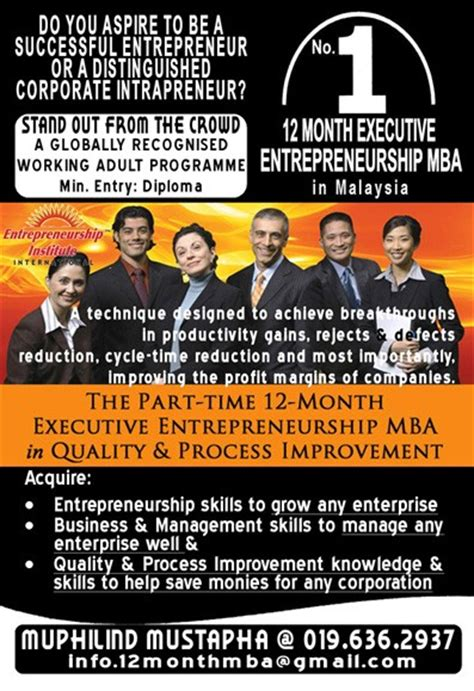 Part Time Mba Malaysia by 12 Executive Entrepreneurship Mba In Malaysia Distance