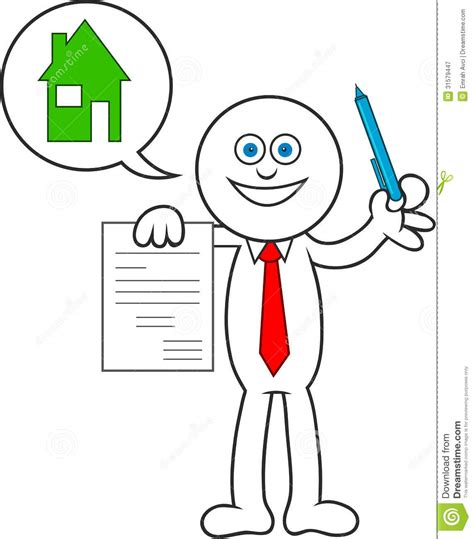 how to buy a house on contract cartoon man showing a contract stock vector image 31579447