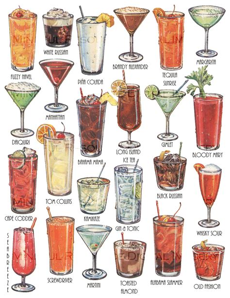 vintage cocktail cocktails retro art drinks vintage printable illustration