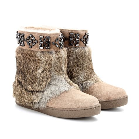 boots with fur burch dalton embellished suede boots with rabbit fur