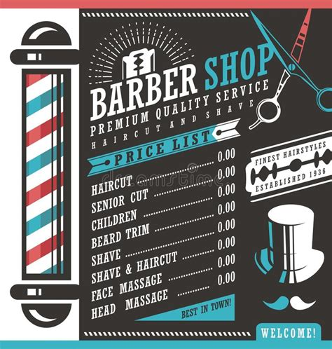 hair salon books posters and banners with hairstyles barber shop price list template stock vector