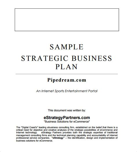 template for a business strategy plan strategic business plan template 9 free word documents
