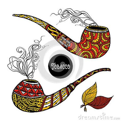 doodle tobacco doodle pipes set stock vector image 62448440