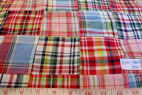 Madras Patchwork - patchwork madras fabric plaid fabric linen fabric