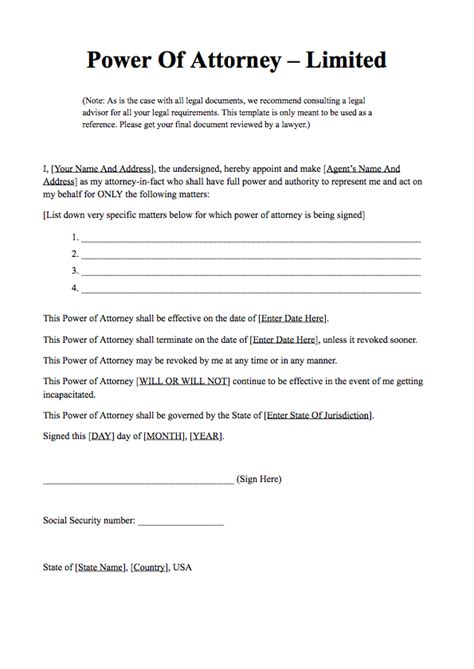 Power Of Attorney Form Free Download What Is Power Of Attorney Poa Letter Template