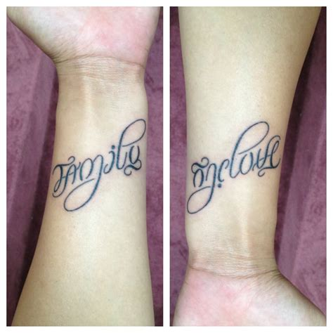 family one love tattoo 36 meaningful ambigram tattoos