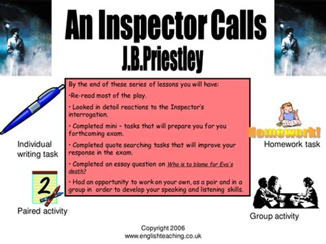 themes in an inspector calls powerpoint an inspector calls resources by lowrip1ckle teaching