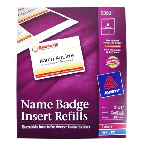 Avery Vertical Name Badge Template by Avery Name Badge Insert Refills 3 Quot X 4 Quot 6up 50 Sheets