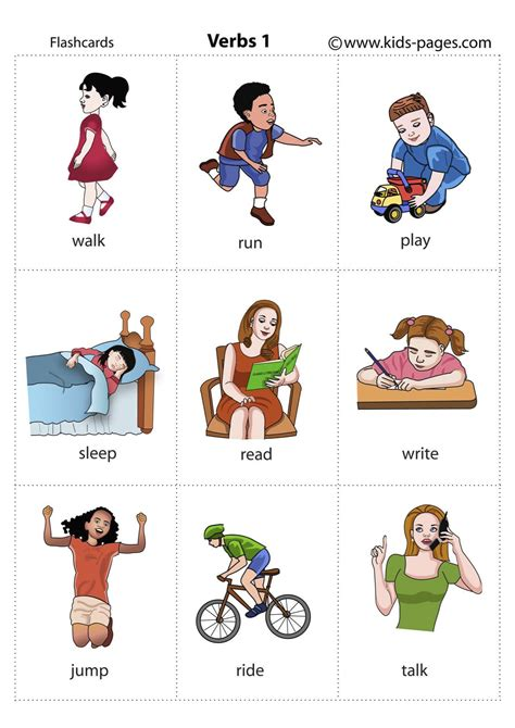 Printable Pictures Verbs | free coloring pages of action verbs