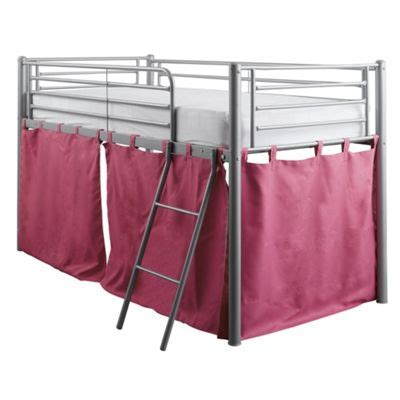 buy midsleeper metal bed frame with pink tent from