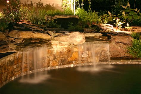 Waterfall Lighting Creates Memphis Sanctuaries Outdoor Waterfall Lights