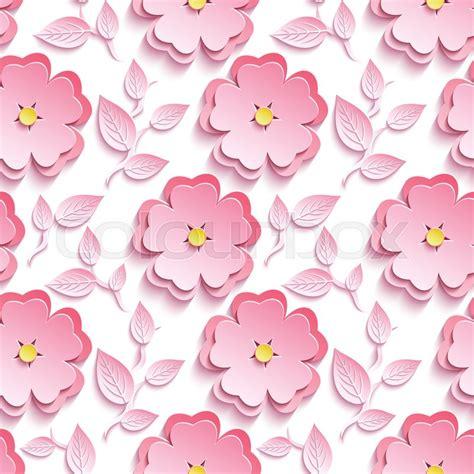 pattern bunga sakura background seamless pattern with pink 3d flower sakura