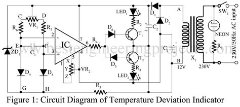 temperature deviation indicator  op amp  engineering projects