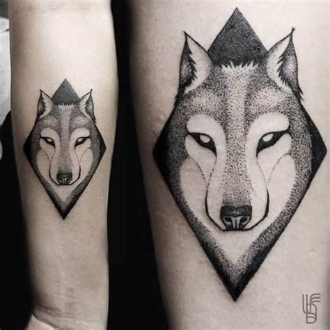 wolf face tattoo angry mood dotwork wolf design on forearm