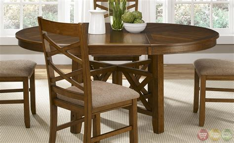 Casual Dining Table Set Bistro Honey Finish Oval Table Casual Dining Furniture Set