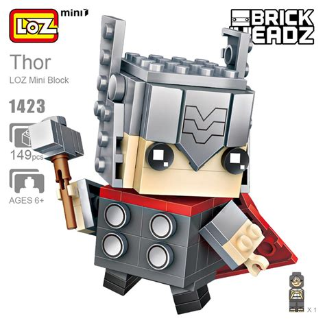 Loz Nano Block Avenger Loki Big loz mini block 1423 brick headz marvel heroes