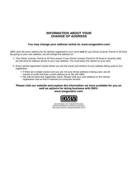 Records Oregon Change Of Address Notice For Dmv Records Oregon Free