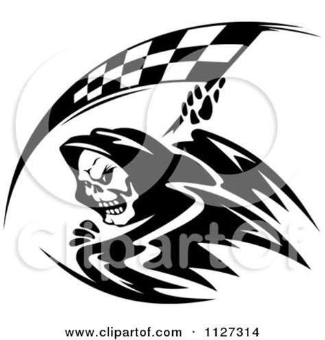 Black And White Designs Black And White Grim Reaper With A Racing Flag Scythe
