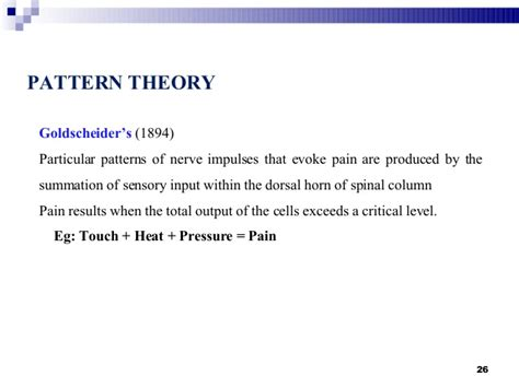 pattern theory pain quot pain quot and quot pathways of pain quot