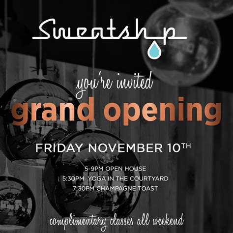 Fridays For November 10th by Grand Opening Of Sweatshop On Central Uptown Plaza