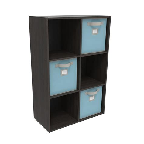 Closetmaid 6 Cube Organizer Espresso closetmaid 36 in x 24 in espresso stackable 6 cube organizer with 3 light blue bins 33029