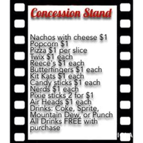 Concession Card Template by Concession Stand Theater Theatre