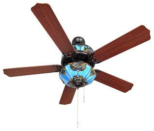 stained glass ceiling fan and light shades of blue 48 inch