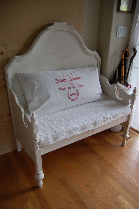 bench from headboard bench made from bed headboard and footboard a photo on