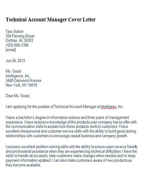 account manager cover letter 8 exles in word pdf