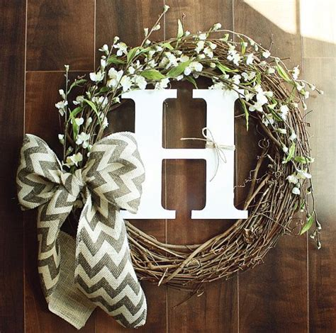 diy wreaths monogrammed grapevine wreath with white cherry blossom