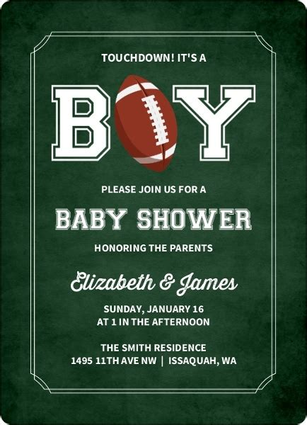 Free Football Baby Shower Invitations by It S A Boy Football Baby Shower Invitation Boy Baby