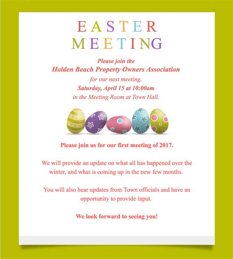 Easter Meeting this Saturday