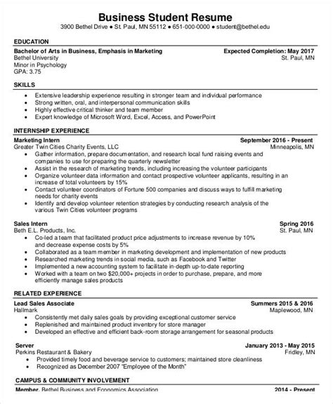 Business Resume Sle Undergraduate Basic Business Resume Templates 24 Free Word Pdf Documents Free Premium Templates