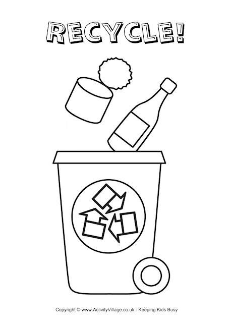 recycle coloring pages preschool recycle bin colouring page