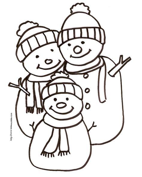 Coloriage Enfant Trio De Bonshommes De Neige Enfant