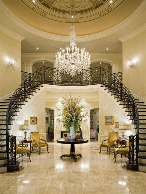 mansion foyer dream house with double staircase dream house