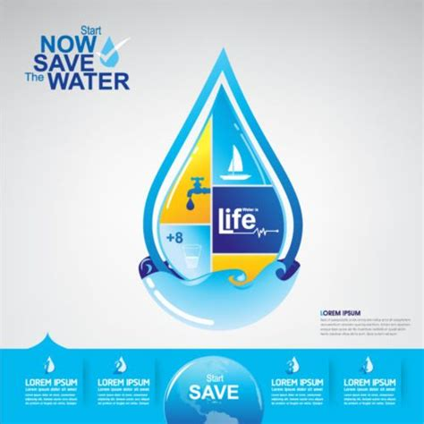 eps format save now save water publicity template design 14 vector life