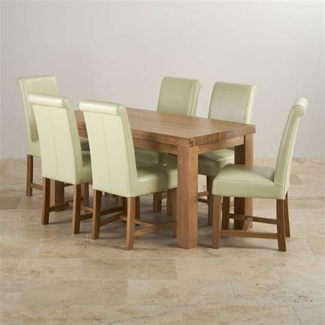 solid oak table with 6 chairs contemporary dining set in oak table 6 leather chairs