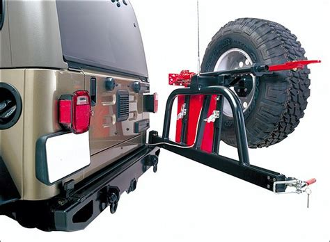 jeep swing out tire carrier cj 2991 body armor 59 quot rear bumper with swing away tire
