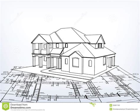 how to draw a 3d house house vector technical draw stock photo image 35897190
