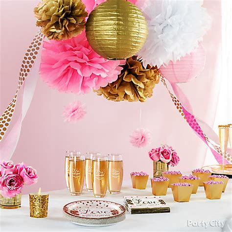 Table Set Decoration 15 Bridal Shower Birthday Baby Shower pink and gold bridal shower decorations idea city