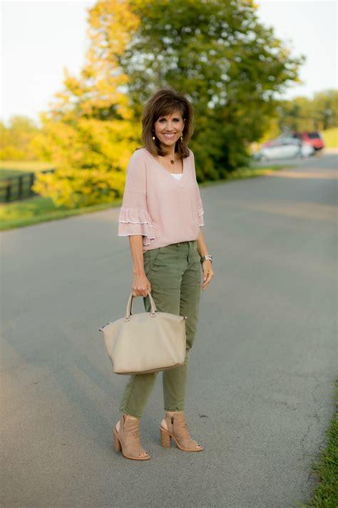 top 10 colors fall 2017 grace beauty pink ruffle sweater olive pants grace beauty