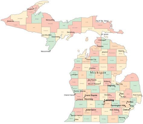 michigan county map with cities michigan map with all cities pictures to pin on