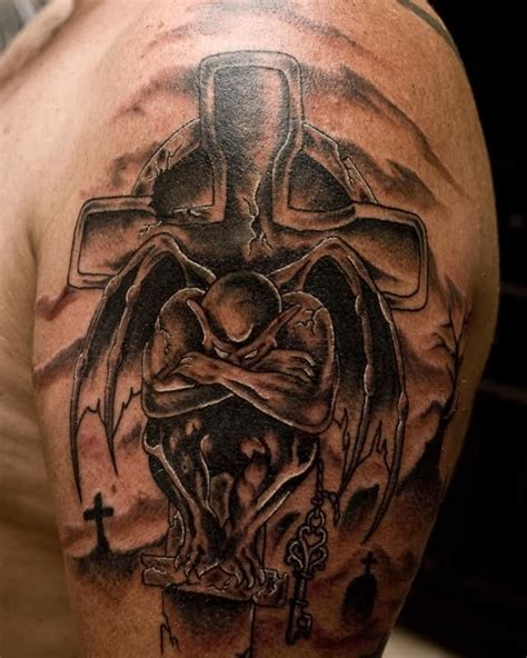 angel and demon tattoo arm tattoos creative