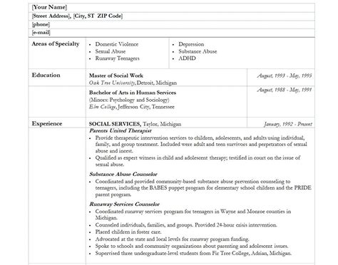 social work resume exle social worker resume template