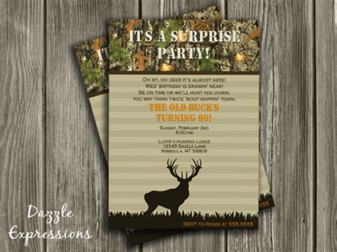 free printable hunting stationary printable hunting surprise birthday party invitation