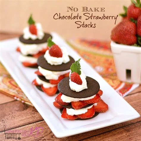 no bake chocolate strawberry stacks in the kitchen with kp