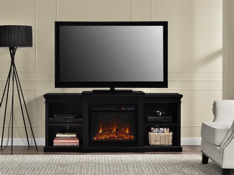 Led Tv Fireplace by Furniture Large Black Wooden Tv Stand With Fireplace And