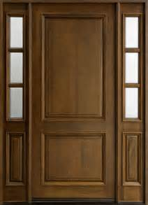 Solid Exterior Wood Doors Entry Door In Stock Single With 2 Sidelites Solid Wood With Walnut Finish Classic Series