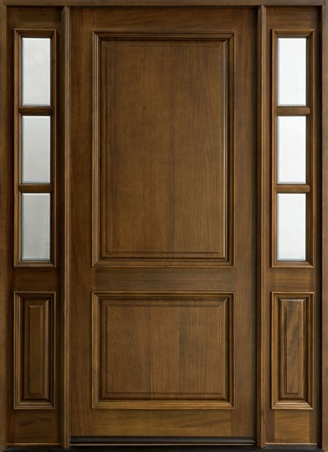 Exterior Doors Used Entry Door In Stock Single With 2 Sidelites Solid Wood With Walnut Finish Classic Series
